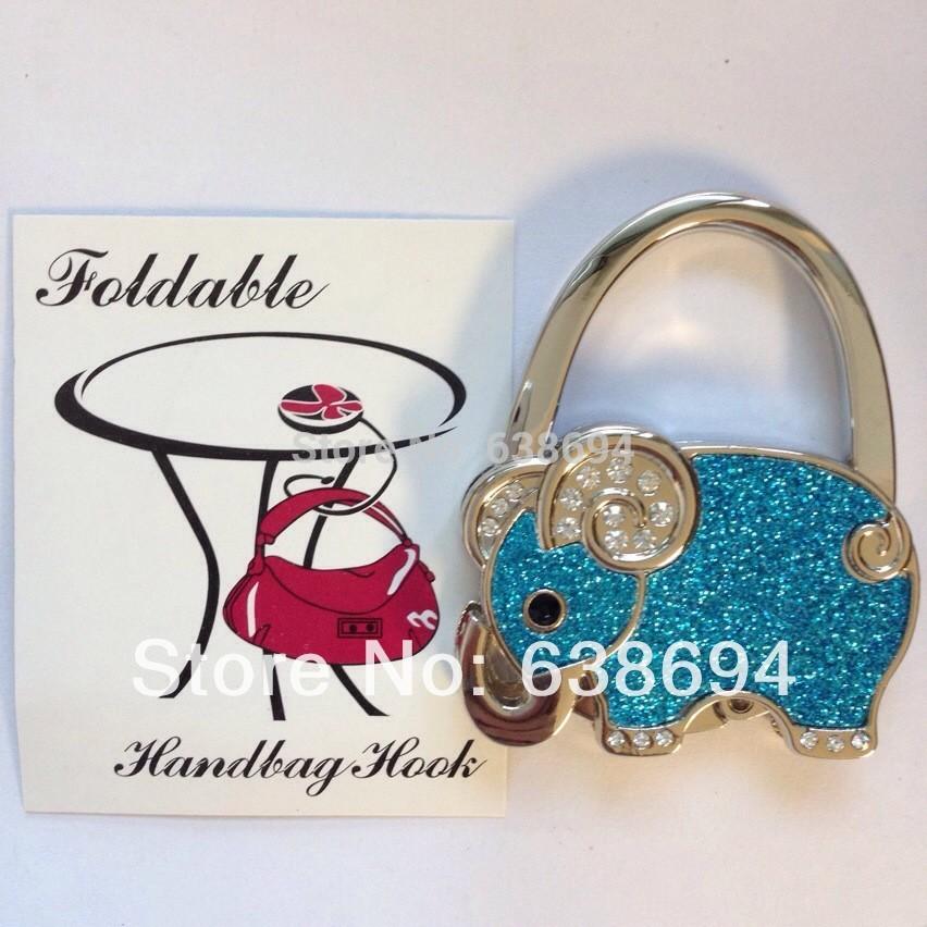 Solid Elephant Blue Metal Foldable Bag Purse Hook Bag Hanger/Purse Hook/Handbag Holder Bling Bag Folding Table Rhinestone Noble(China (Mainland))