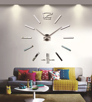 2014 Novelty fashion BIG DIY mirror wall clock Modern home decoration large 3D metal digital wall clock free shipping