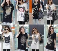 40 Colors!!Exclusive! M-XXL, 2014 New Hot Sale Leopard Rose Letter Women Colorful Short Sleeve cotton T Shirt, Loose Blouse,A2