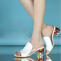2014 fashion brand womens diamond thick heel sandals open toe shoes female summer single rhinestone sandals shallow mouth shoes