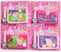 New Free shipping 10pcs Cartoon peppa pig watch Wristwatches and 10pcs purses  Wallet