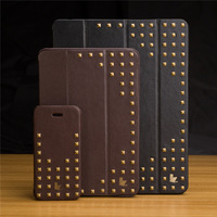 for ipad air 5 2014 Top Brand Vintage Style Studded Micro Fiber Leather Smart Case For iPad Cover for iPad Air Cover air soft