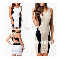 New 2014 New Sexy women dress High Street  Patchwork Block Cross Back Bodycon Dress LC21307