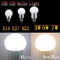 10pcs/lot  Hot sale  COB led bulb E14 B22 e27 led bulb lamp AC85-265V 3W 5W 7W Energy Saving high brightness Warm White/White
