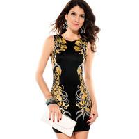 2013 o-neck slim aluminum foil print fashion one-piece dress 2833