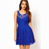 Fashion summer 2013dl women's blue slim racerback lace print one-piece dress 2915