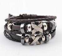 2014 new Men jewelry vintage Genuine leather titanium steel bracelet for men New fashion weave  wrap bracelet ASL035