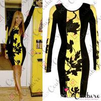 New 2014 Fashion Basic Sexy Women Slim Hip Dress Full sleeve European American big stars Same Design Dresses