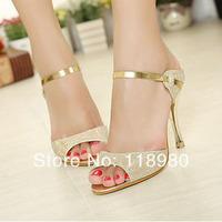Hot New 2014 women pumps shoes  glitter Luxurious 9CM high heels  Casual Sandals European size 35-39