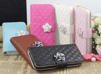 Hot Camellias Lattice Rhinestone PU Leather Flip Case For iphone 5 5S