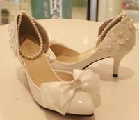 1806 Discount cheap!PU Lace Rhinestone Pearl Bow tie Women Pumps Wedding shoes White 6cm Size37-39