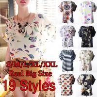 2015 Tropical Women T-Shirt 19 Styles S-XXL Plus Size Bird Print Summer Women Clothing T Shirt Women Top Tee Roupas Femininas