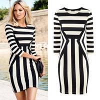 New 2014 Autumn Sexy Women Black White Striped Dresses Package Hip Long Sleeve Dress Vestidos, S, M, L, XL