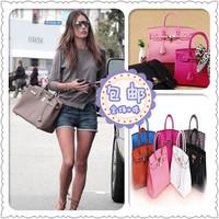 Cat 2 shop h leather bag platinum shaping bag silver lock anti-theft bag handbag litchi