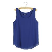 2014 sleeveless plus size spaghetti strap basic top female small vest double layer chiffon vest all-match loose