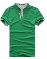 2014 large size men's fashion casual street Slim V-neck short-sleeved t-shirt Y0048