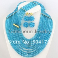New Arrival! Latest Turquoise Blue African Crystal Beads Jewelry Set Nigerian Beads Lady Wedding Jewelry Set GS042