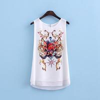 2014 summer female chiffon shirt basic shirt print loose vest spaghetti strap top bb4-3