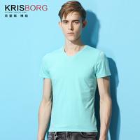 Slim new summer 2014 men's fashion solid color rendering simple short-sleeved V-neck T-shirt  Y0049