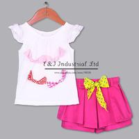 2015 Fashion Girl Clothing Set White Tshirt Hot Pink  Shorts With Yellow Belt Girls Fashion Wclothes CKids Apparel