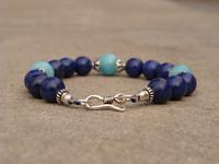 Free shipping 25% off sales Natural indigotine 4a lapis lazuli bracelet amazonstone
