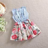 2015 girls summer casual sleeveless dress children denim dresses kids party princess clothes girl cotton flower dressTZ-A027