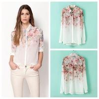 Hot Sell New 2013 Fashion Women Chiffon Blouse Women Flower Print Lapel Casual Chiffon Long Sleeved Shirt Women Tops