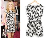 High Quality 2014 New Women Summer Dress Preppy Style Geometric Print Elastic Chiffon Tunic Casual Party Mini Dresses D0001