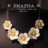 High quality zhazha 5 baileyi flower gold chain female necklace gift