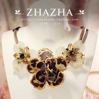 Zhazha luxury leopard print resin three-dimensional flower necklace female gift