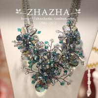 Exquisite zhazha symphony crystal flower handmade necklace female gift
