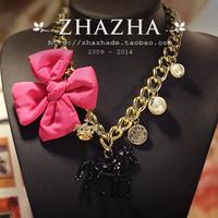 Vivi zhazha rose flower black horse gold coin beautiful gold chain necklace female gift