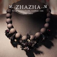New arrival zhazha black scrub metacinnabarite lily flower mixed fashion amethyst necklace