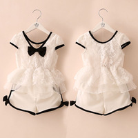 Free shipping!2014 summer bow girls clothing baby child clothing lace skirt shorts set short-sleeve + pants