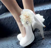 1810 Wholesale! Flower Women Pumps Wedding shoes bridesmaid Platform 11cm Black/White Size36-39