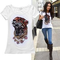 2014 star fashion animal leopard head pattern rhinestones short-sleeve cotton t shirt women 2colors S,M,L,XL