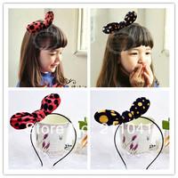 Wholesale Kids Lovely Polka Dot hair accessories bow hairband 10 PCS rabbit ears head band children party headwear PHB-0120