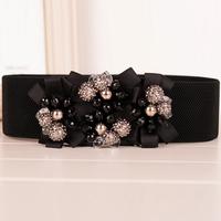 Hot-Sell All-Macth Fashion Crystal Beaded Wide Cummerbunds Female Cintos Femininos Ceinture Women Ladies Belts For Women's Dress