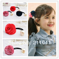 15pcs/lot Fashion Rose Hair Accessories Pearl Hair Ring High Quality girls elastic hair rope PEB-0136