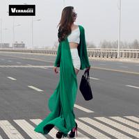Free Shipping 2014 New Women Novelty Flare Sleeve Maxi Dress Chiffon Floor Length Beach Sun Shawl Cardigan Dress 3 Colors(S-XXL)
