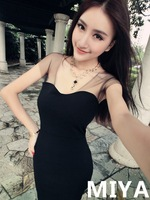 2014 New Fashion Women Summer Bodycon Cute Party  Patchwork Sexy Short Sleeves Dress Shoulder Gauze Girl Dresses  Y03111