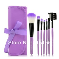 Free Shipping  7pcs Makeup Brush Set Kit With Roll Up Purple Bag Case Eyeshadow Cosmetic Brush /Wool Makeup Brushes Tools