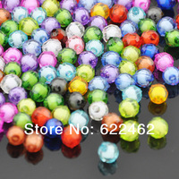 Free Shipping! 100pcs Colorful Round Acrylic Spacer Beads Cube Mixed 8mm