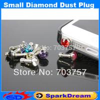 Luxury Phone Accessories Small Diamond Rhinestone 3.5mm Dust Plug Earphone Plug For Iphone & Ipad & Samsung& HTC,Wholesales