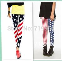 Fashion New Spring Women American Flag Print Ninth Legging European and American Style Skinny Pencil Pants  115g SL010