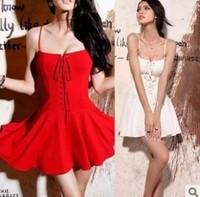 2014 New Summer retro braces elegant dress party backless  women bubble dresses black whtie red  Y03078