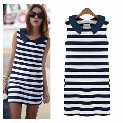 New hot Korean Fashion Women Summer Denim Sailor Collar Sleeveless stripe Slim Dress free shipping(China (Mainland))