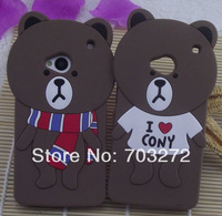 5pcs 2014 New !! Muffler Bear Lover Cute 3D Soft Cartoon Case For HTC one M7 Silicone Rubber Back skin cases cover Free Shipping