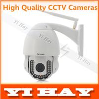 Free Shipping AP005W  PTZ Waterproof Wireless Outdoor 720P H.264 IP Camera IR-CUT w/ 42-IR LED / 5x Optical Zoom - White
