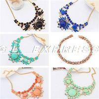 Fashion Jewelry Pendant Chain Crystal Statement Bib Necklace Choker Chunky Party